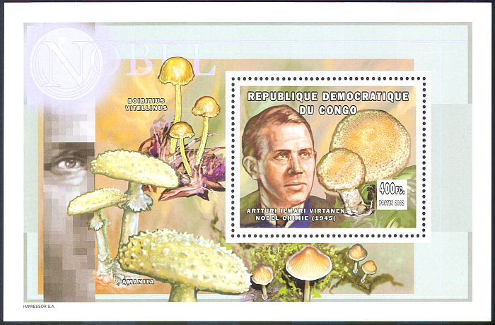 Congo 2002 Mushroom Fungi Nature Nobel Prize Winners People 1v M S