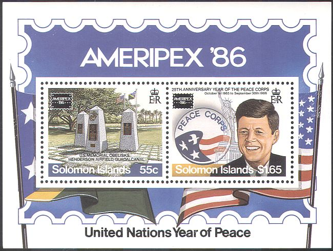 Solomon Islands 1986 John F Kennedy JFK Peace Corp Monuments StampEx 2v M S S4195